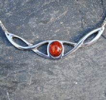 Celtic knot necklace with amber P31